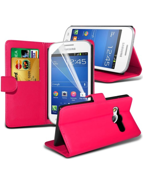Samsung Galaxy Ace 2 Pu Leather Book Style Wallet Case with free  Stylus-Pink