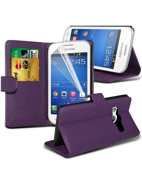 Samsung Galaxy Ace 4 Pu Leather Book Style Wallet Case with free  Stylus-Purple