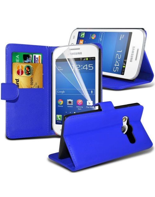 Samsung Galaxy Ace 4 Pu Leather Book Style Wallet Case with free  Stylus-Blue