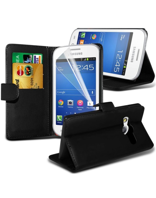 Samsung Galaxy Ace 2 Pu Leather Book Style Wallet Case with free  Stylus-Black