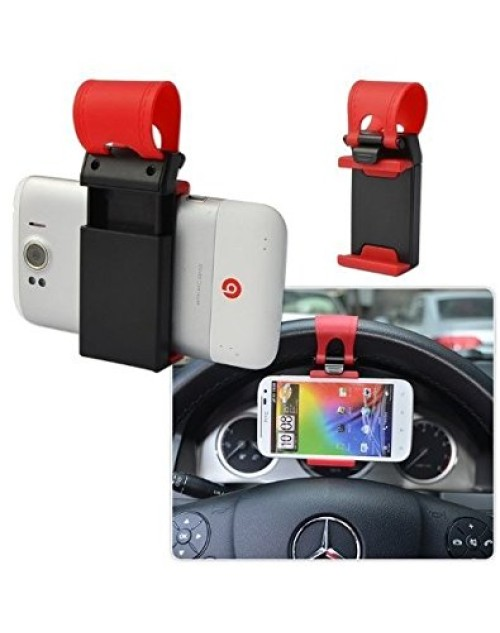 Mobile Phone Retractable Silicon Car Steering Wheel Socket Holder Clip Multi-functional mobile phone Holder Providing Better View Access to Your Phone (max screen size 4.8inch) for iPhone 5/5G/ 4/4S,HTC, Samsung Galaxy, PDA and Smart Cell phones