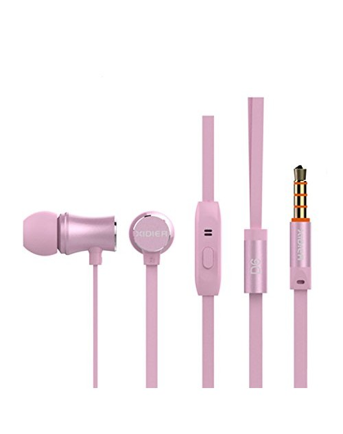 New D6 (2016) Universal Heavy Bass Metal Earphone with MIC for All Devices,Smartphones,Tablets.PC for Motorola -Rose