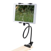 360 Degree Rotation Lazy Bed Desk Mount Tablet Stand Holder with Adjustable Clamp Clip - Black