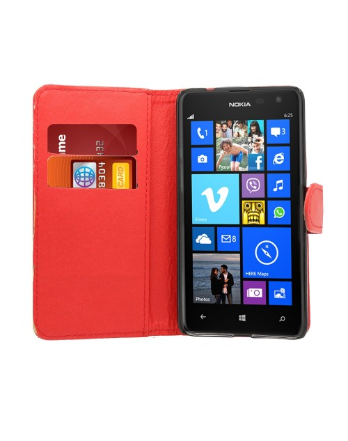 Microsoft Lumia 530 Pu Leather Book Style Wallet Case with Mini Stylus Stylus-Red