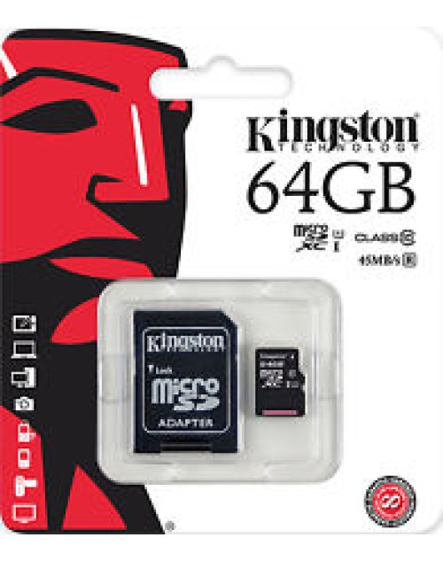 64GB Kingston MICRO SDHC MEMORY CARD WITH SD ADAPTER TF HC MICROSD