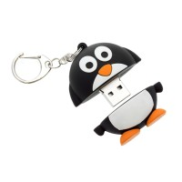 Trendz Novelty Character Stocking Filler 8GB USB Flash Drive Memory Stick with Keyring Attachment - Penguin