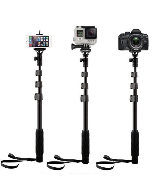 Extendable handheld YunTeng YT-188 Selfie Sticks Monopod + Mini Tripod Stand Mount + Phone Holder Clip Desktop Self-Tripod + Bluetooth Remote Shutter Controller Self-Timer for iPhone iPad Samsung HTC iOS Andriod Cellphone Smartphones