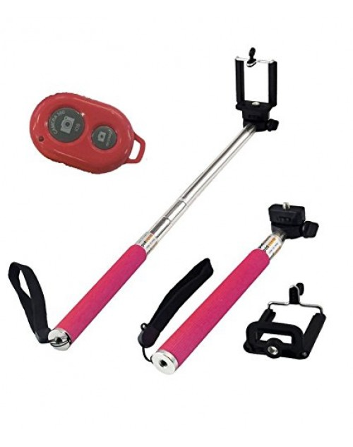Universal Extendable Self Portrait Selfie Handheld Stick Monopod with Bluetoot Remote Wireless Shutter for IOS and Android Smartphone