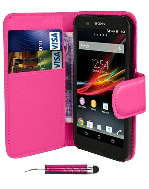 Sony Xperia Z1 Mini  Pu Leather Book Style Wallet Case with free  Stylus-Pink