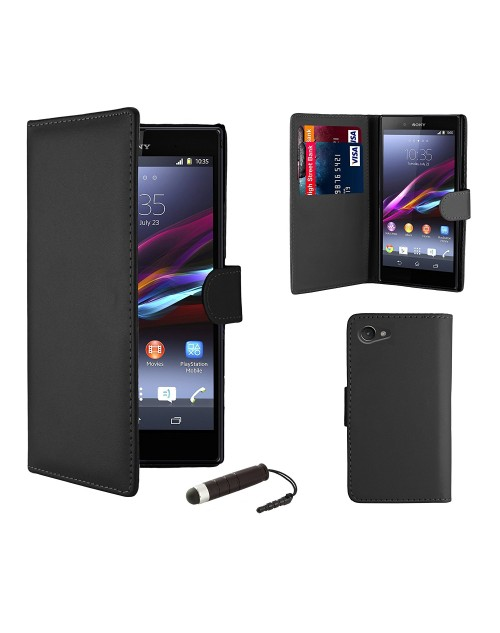 Sony Xperia M4 Pu Leather Book Style Wallet Case with free  Stylus-Black