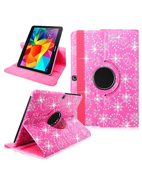 "Leather Case For Samsung Galaxy Tab 4 10.1"" Inch SM-T530 Tablet Pink Glitter 360 Degree Rotating Pu Leather Slim Flip Folio Portfolio Swivel Stand Case Cover Protector"