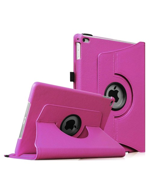 Apple iPad 2/3/4 360 Rotaing Pu Leather with Viewing Stand Plus Free Stylus Case Cover for Apple iPad 2-Pink