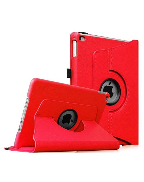 Apple iPad 2/3/4 360 Rotaing Pu Leather with Viewing Stand Plus Free Stylus Case Cover for Apple iPad 2-Red