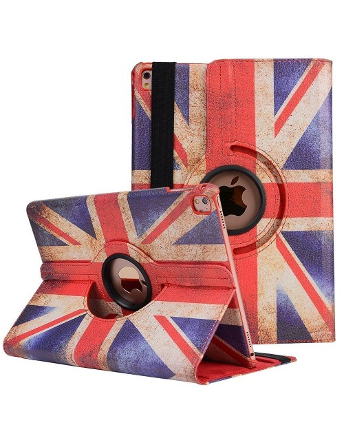 Apple iPad 2/3/4 360 Rotaing Pu Leather with Viewing Stand Plus Free Stylus Case Cover for Apple iPad 2-Union Jack