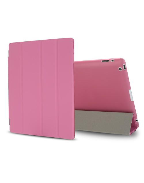 iPad Mini Case, iPad Mini 2 / Mini 3 Case,iPad Mini Smart Case Cover [Synthetic Leather] and Translucent Frosted Back Magnetic Cover with Sleep / Wake Function [Ultra Slim] [Light Weight] for Apple iPad Mini 1/2/3-Pink