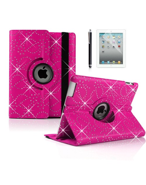 "Apple iPad Pro 12.9"" 360 Rotating Glitter,Diamond,Sparkling,Bling Pu Leather Case Cover with Adjustable Viewing Stand Free Stylus-Pink"