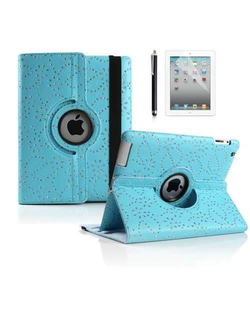 "Apple iPad Pro 12.9"" 360 Rotating Glitter,Diamond,Sparkling,Bling Pu Leather Case Cover with Adjustable Viewing Stand Free Stylus-Blue"