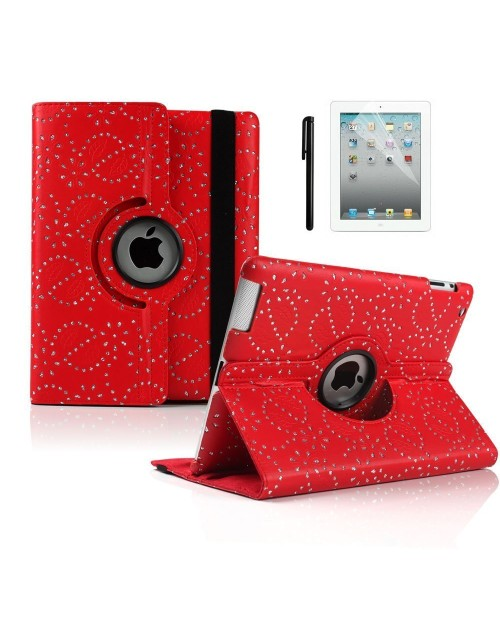 "Apple iPad Pro 12.9"" 360 Rotating Glitter,Diamond,Sparkling,Bling Pu Leather Case Cover with Adjustable Viewing Stand Free Stylus-Red"