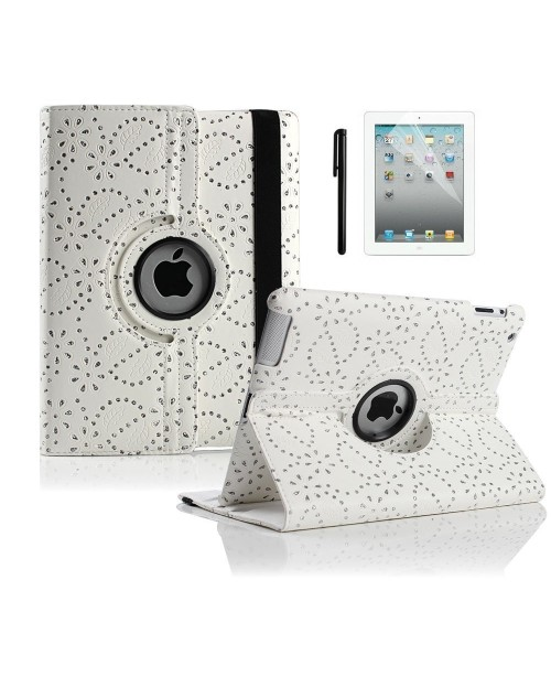 "Apple iPad Pro 12.9"" 360 Rotating Glitter,Diamond,Sparkling,Bling Pu Leather Case Cover with Adjustable Viewing Stand Free Stylus-White"