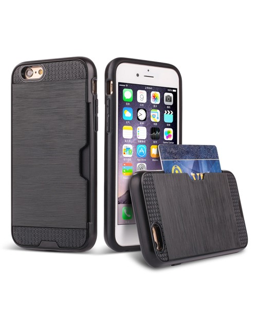 Apple iPhone 5G/5S Card Wire Drawing Candy Stripe Hard PC Hybrid Back Cover Card Storage Slot Pocket Cell Phone Fashion Case-Black