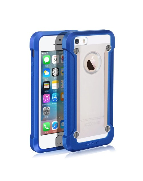 SUPCASE Armor Hard Phone Case For iPhone 5S Cover Clear Matte Back Shockproof Soft TPU Bumper Protective Case-Blue