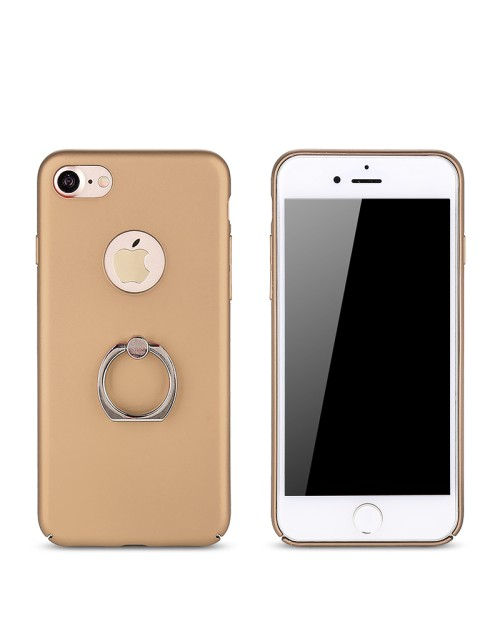 Rubberized Finger Ring Hard PC Case for iPhone 5 SE -Gold