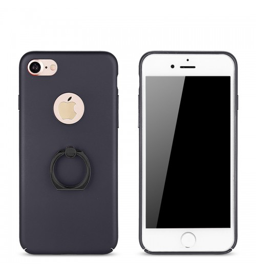Rubberized Finger Ring Hard PC Case for iPhone 7 -Black