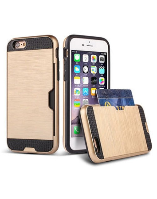 Apple iPhone 6 Card Wire Drawing Candy Stripe Hard PC Hybrid Back Cover Card Storage Slot Pocket Cell Phone Fashion Case-Gold