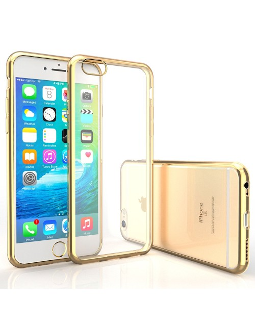 iPhone 6S / 6 Case Ultra Thin Electroplate TPU Gel Cover with Shock-Proof Bumper-Gold