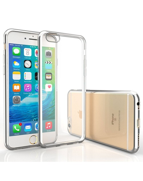 iPhone 6S / 6 Case Ultra Thin Electroplate TPU Gel Cover with Shock-Proof Bumper-Silver