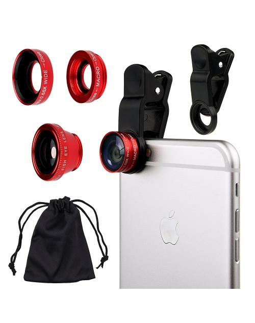Universal 3 in 1 Mobile Phone Camera Lens Kit 180 Degree Fish Eye Lens + 2 in 1 Micro Lens + Super Wide Angle Lens for iPhone 6 Plus 5 5S 4S 4 iPad mini iPad 4 3 2 Samsung Galaxy S4 S3 S2 Note 4 3 2 1 Sony HTC Blackberry Smart phones (Red)