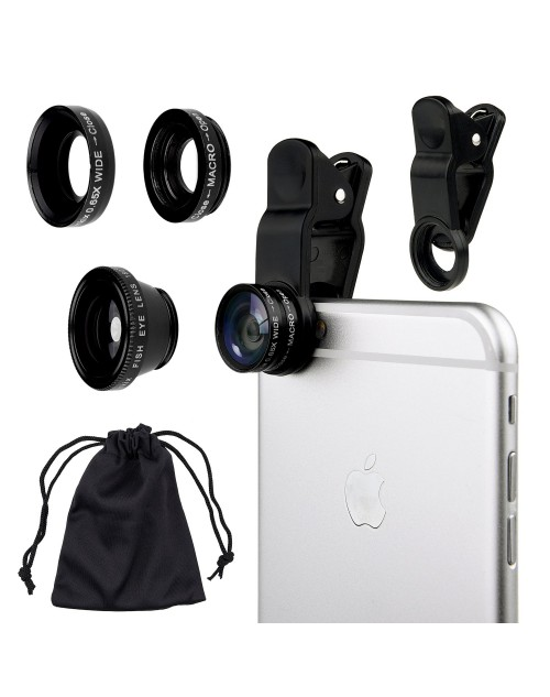 Universal 3 in 1 Mobile Phone Camera Lens Kit 180 Degree Fish Eye Lens + 2 in 1 Micro Lens + Super Wide Angle Lens for iPhone 6 Plus 5 5S 4S 4 iPad mini iPad 4 3 2 Samsung Galaxy S4 S3 S2 Note 4 3 2 1 Sony HTC Blackberry Smart phones (Black)