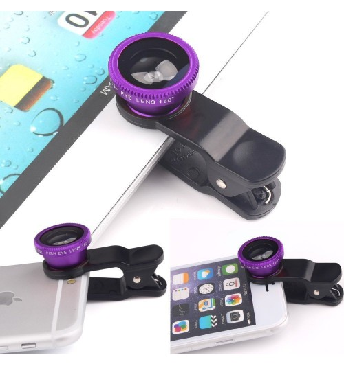 Universal 3 in 1 Mobile Phone Camera Lens Kit 180 Degree Fish Eye Lens + 2 in 1 Micro Lens + Super Wide Angle Lens for iPhone 6 Plus 5 5S 4S 4 iPad mini iPad 4 3 2 Samsung Galaxy S4 S3 S2 Note 4 3 2 1 Sony HTC Blackberry Smart phones (Purple)