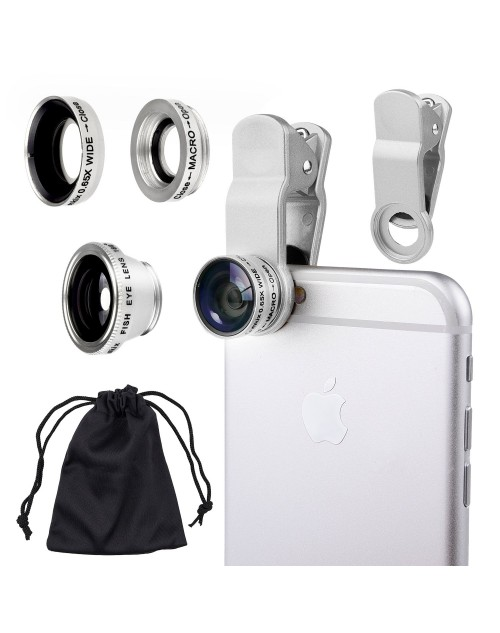 Universal 3 in 1 Camera Lens Kit for Smart phones , Ipad, Ipod touch, Laptops / One Fish Eye Lens / One 2 in 1 Macro Lens and Wide Angle Lens / One Universal Clip / One Microfiber Carrying Bag with Camkix retail packaging(Silver)