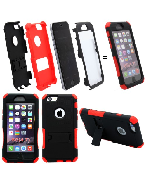 iPhone 6 Plus/6S Plus Logo Hole Heavy Duty Shockproof Miltary Silicon Case Cover with Built in Screen Protector Adjustable Positioning Stand-Red & Black