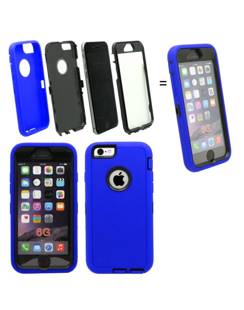 iPhone 6 Plus/6S Plus Logo Hole Heavy Duty Shockproof Miltary Silicon Case Cover with Built in Screen Protector Adjustable Positioning Stand-Blue
