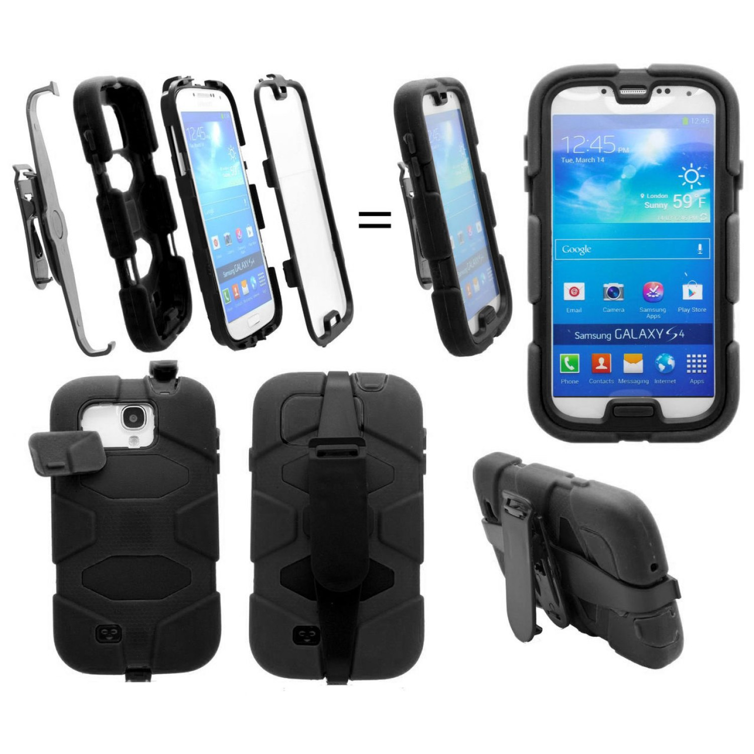 Samsung Galaxy S4 I9500 Heavy Duty Shockproof Miltary Silicon Case New All Black Cover With Built In Screen Protector