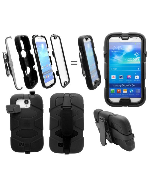 iPhone 5C Heavy Duty Shockproof Miltary Silicon Case Cover with Built in Screen Protector Adjustable Positioning Stand-Black