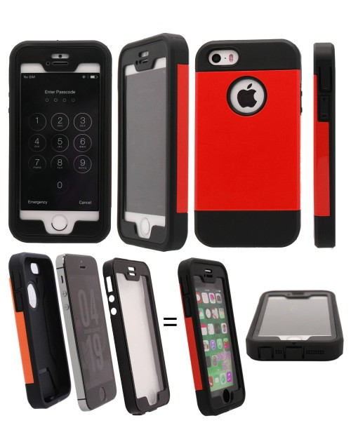 iPhone 5/5S Heavy Duty Shockproof Miltary Silicon Case Cover with Built in Screen Protector Adjustable Positioning Stand-Red & Black