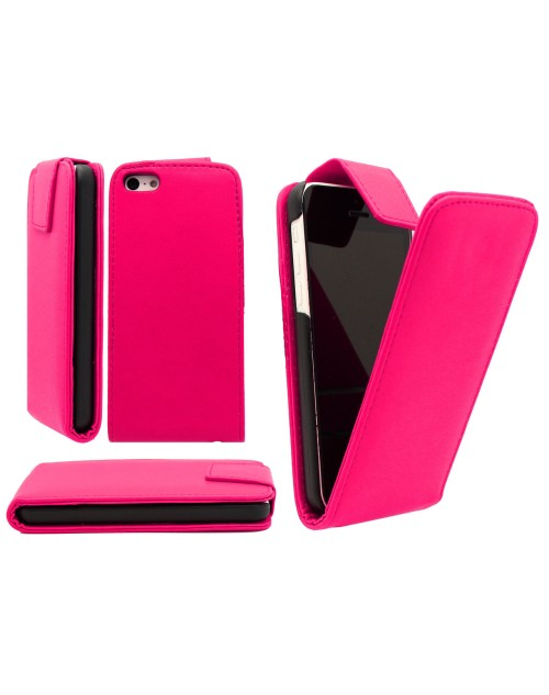 iPhone 5C Pu Leather Flip Case Cover Plus  Mini Stylus-Pink