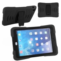 iPad  Air Heavy Duty Shockproof Miltary Silicon Case Cover with Built in Screen Protector Adjustable Positioning Stand-Black