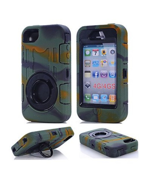 iPhone 5/5S/5C Heavy Duty Shockproof Miltary Silicon Case Cover with Built in Screen Protector Adjustable Positioning Stand-Camouflage