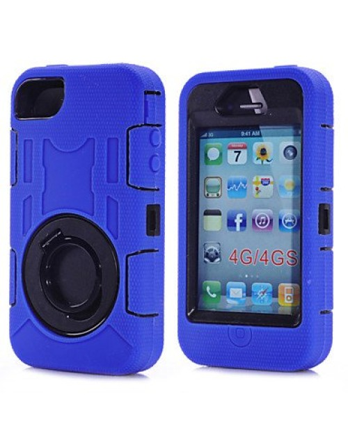 iPhone 5/5S/5C Heavy Duty Shockproof Miltary Silicon Case Cover with Built in Screen Protector Adjustable Positioning Stand-Purple