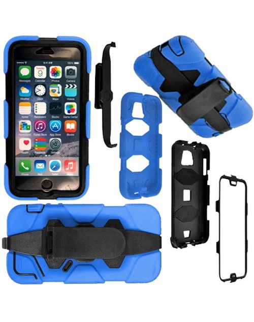 iPhone 5C Heavy Duty Shockproof Miltary Silicon Case Cover with Built in Screen Protector Adjustable Positioning Stand-Blue