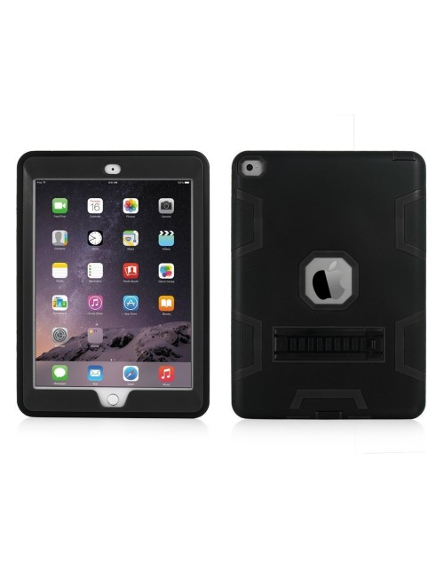 iPad Mini 1,2,3 Heavy Duty Shockproof Miltary Silicon Case Cover with Adjustable Positioning Stand-Black
