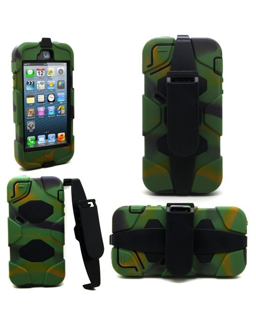 iPhone 5/5S Heavy Duty Shockproof Miltary Silicon Case Cover with Built in Screen Protector Adjustable Positioning Stand-Camouflage