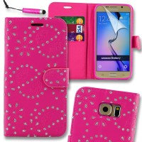 Samsung Galaxy S7 Edge Glitter  Pu Leather Book Style Wallet Case with free  Stylus-Pink
