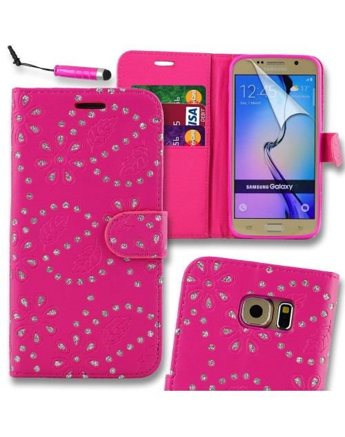 Samsung Galaxy S6 Glitter  Pu Leather Book Style Wallet Case with free  Stylus-Pink