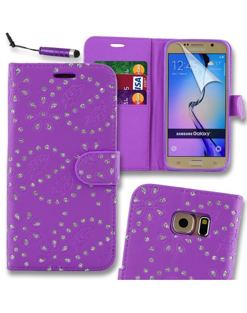 Samsung Galaxy S6 Glitter  Pu Leather Book Style Wallet Case with free  Stylus-Purple