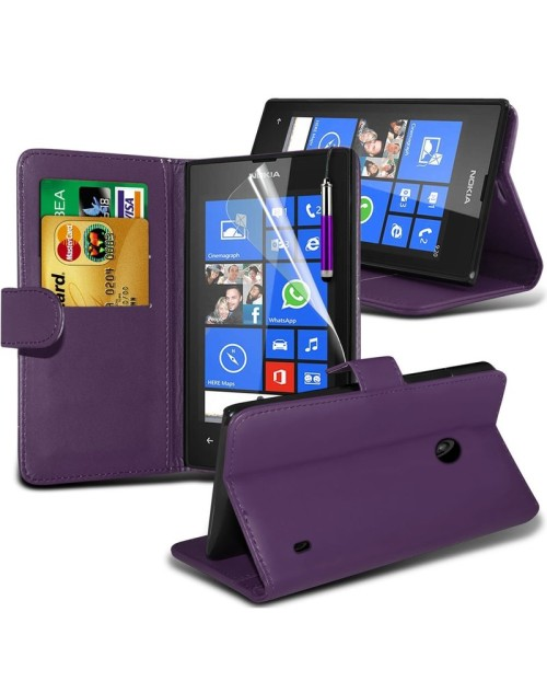 Microsoft Lumia 640 Pu Leather Book Style Wallet Case with Mini Stylus Stylus-Purple